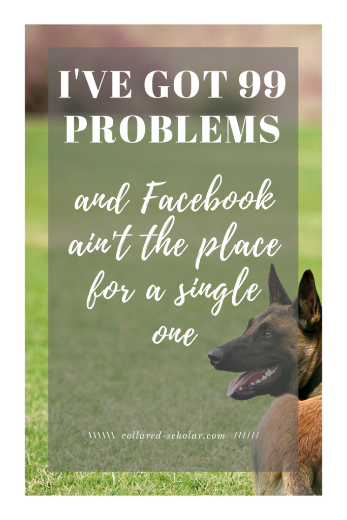 I've got 99 problems and Facebook ain't the place for a single one meme